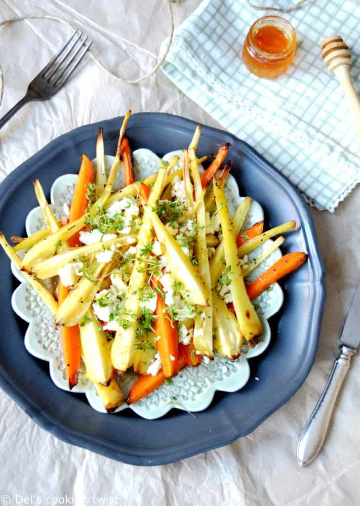 Roasted Root Vegetables with Feta and Honey