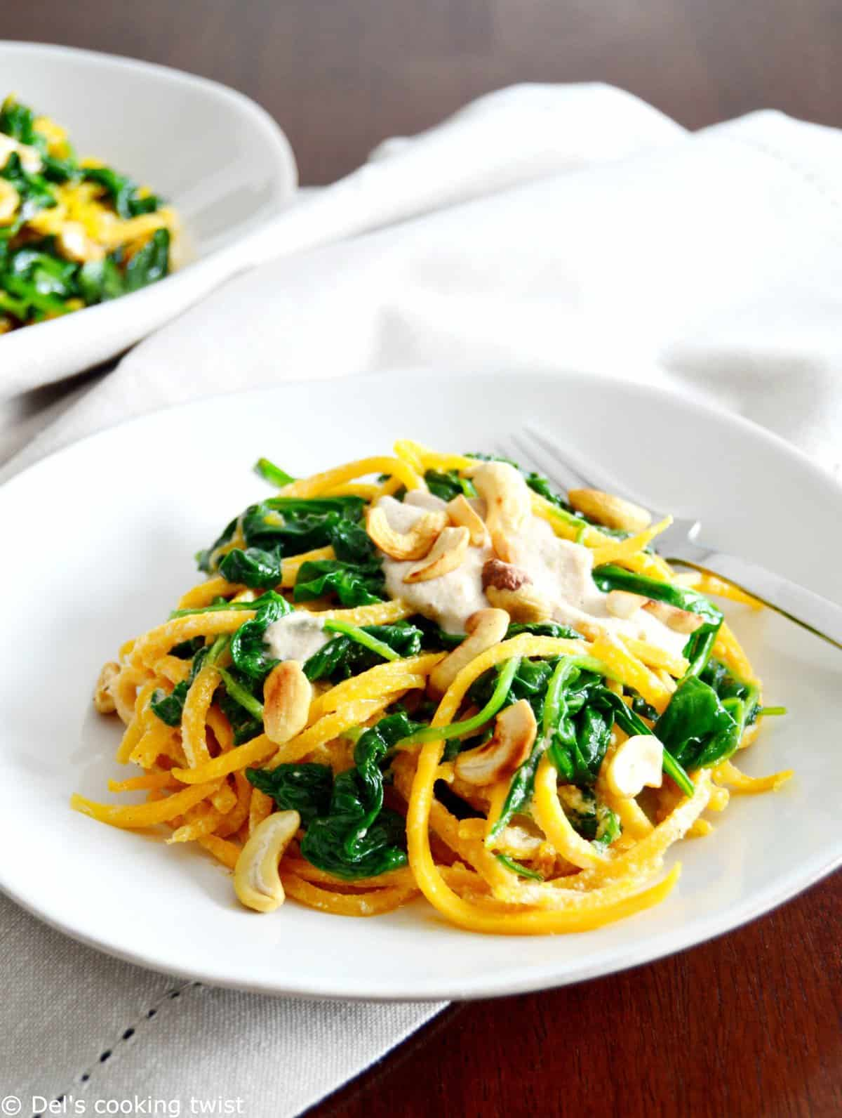 Butternut Squash Noodles with Cashew Sauce