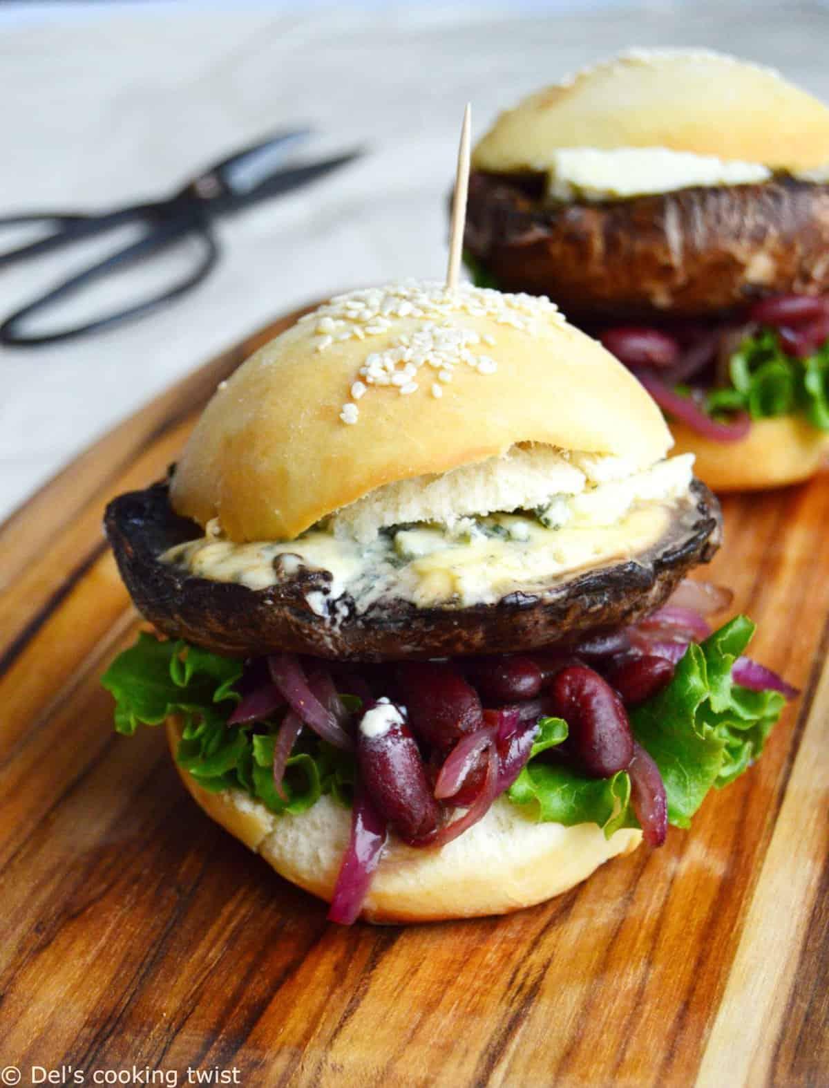 Portobello Mushroom Burger with Blue Cheese and ...