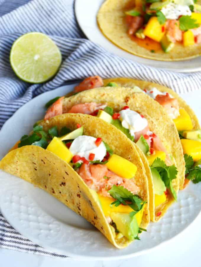 Thai Salmon Tacos with Mango-Avocado Salsa