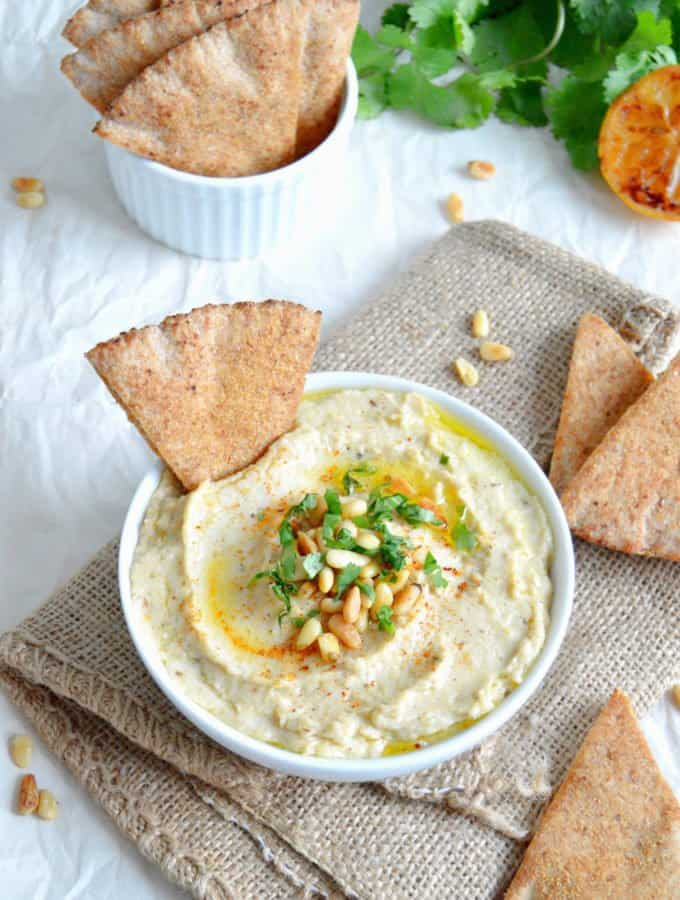Roasted Cauliflower Hummus and Pita Chips