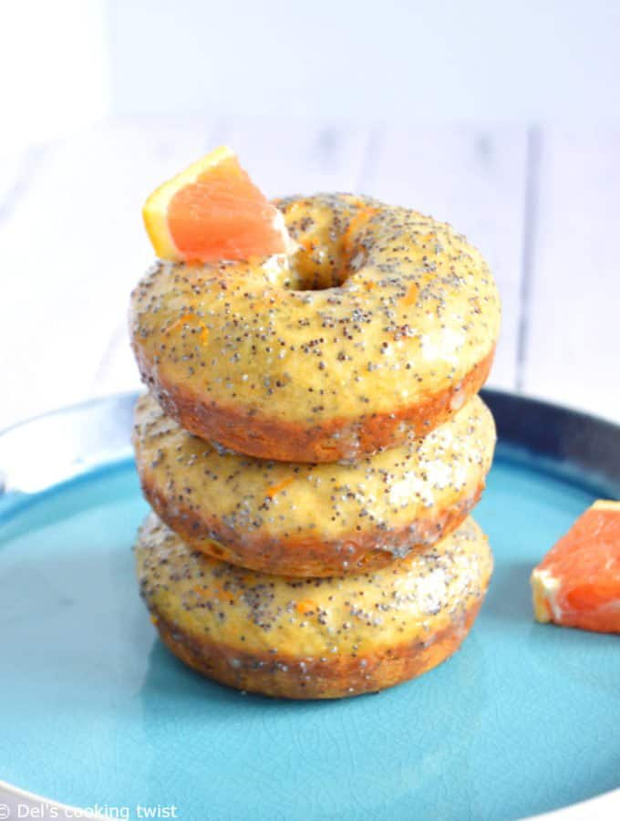 Glazed Orange Poppy Seed Donuts