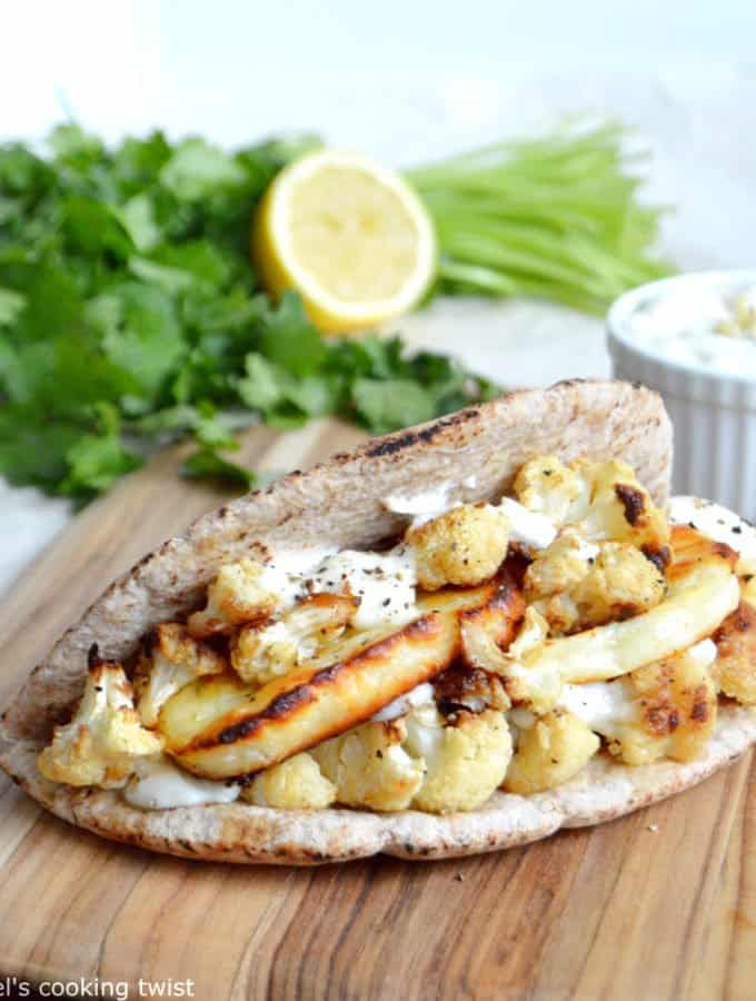 Roasted Lemon Cauliflower & Halloumi Pita Pockets
