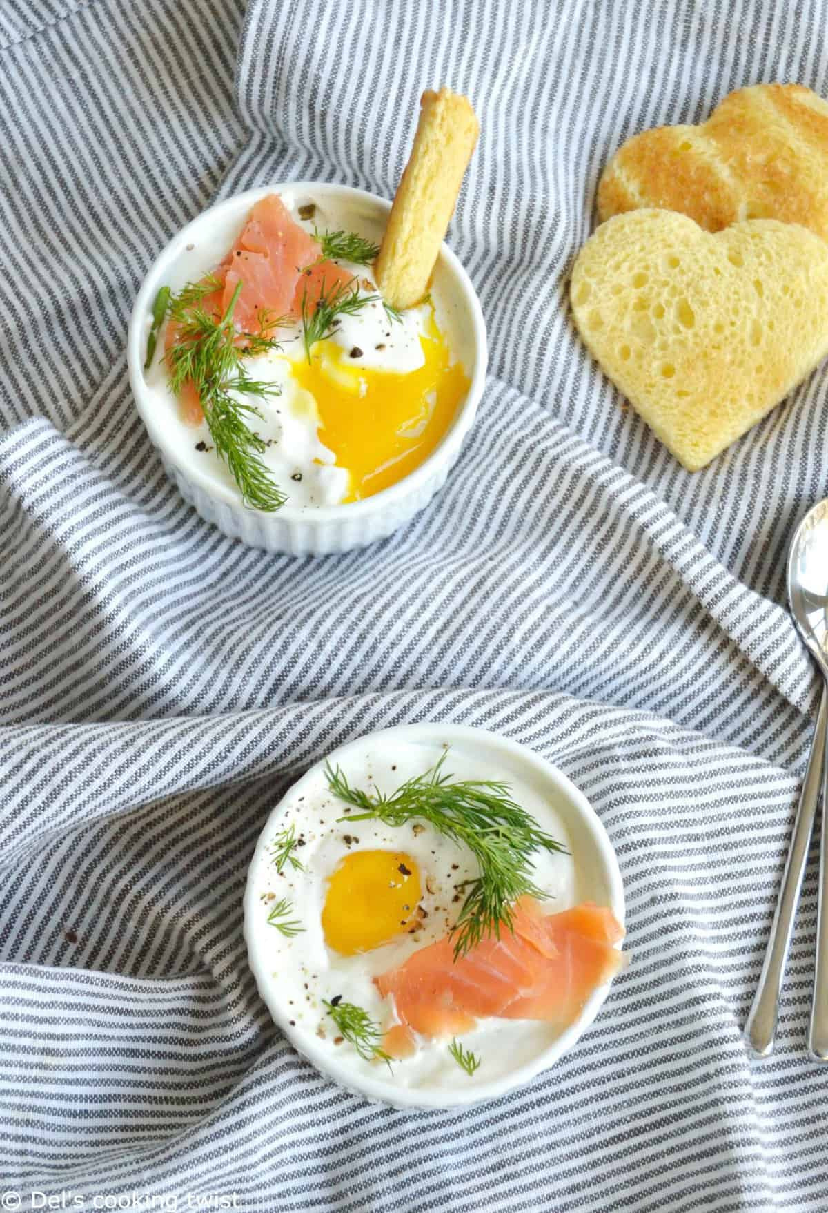 Creamy Baked Eggs with Smoked Salmon