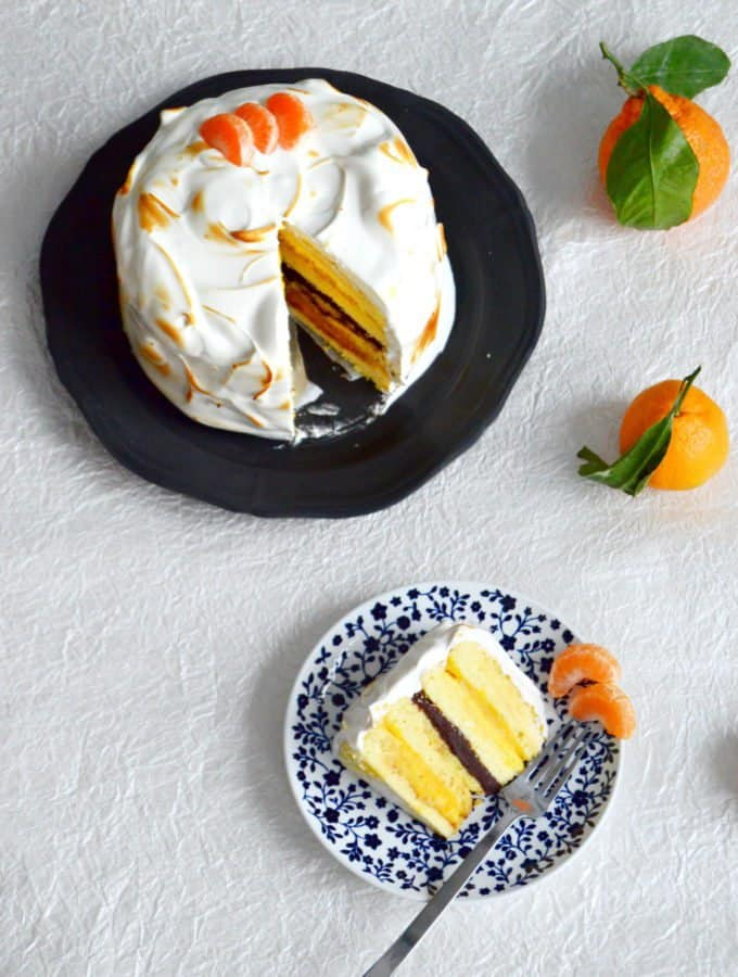 Outrageous Chocolate-Mandarin Meringue Cake