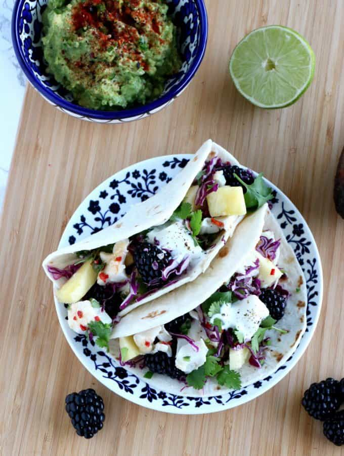 Fish Tacos with a Chili Lime Fruit Salsa