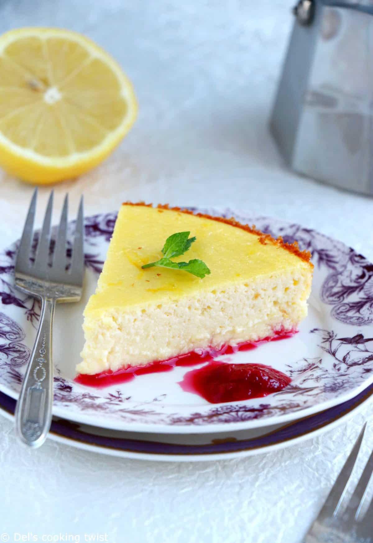 Cheesecake façon Fiadone et son coulis de griottes