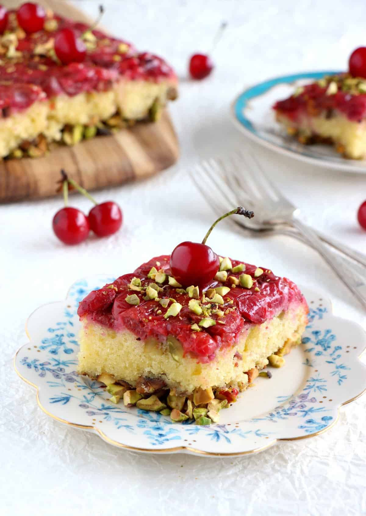 Upside-Down Pistachio Cherry Cake