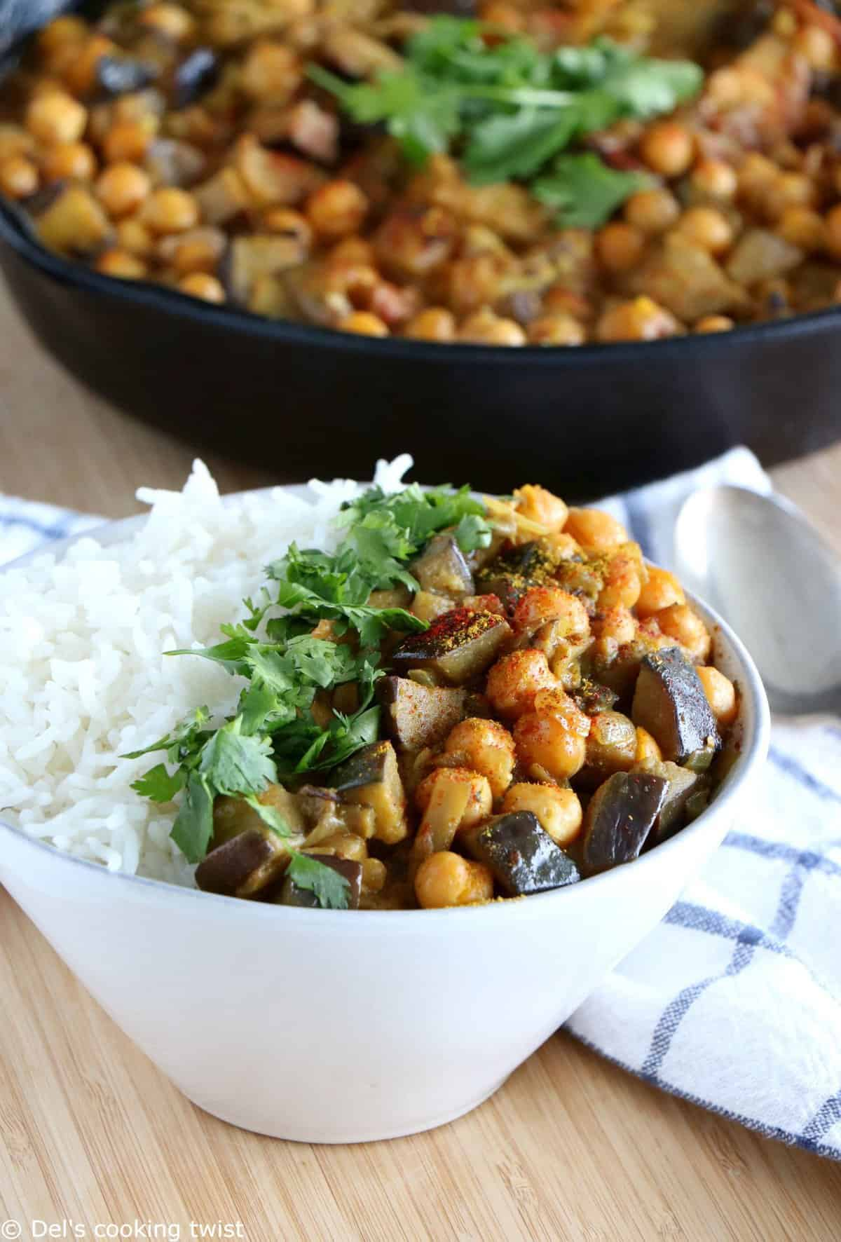 Vegan Eggplant chickpea Curry