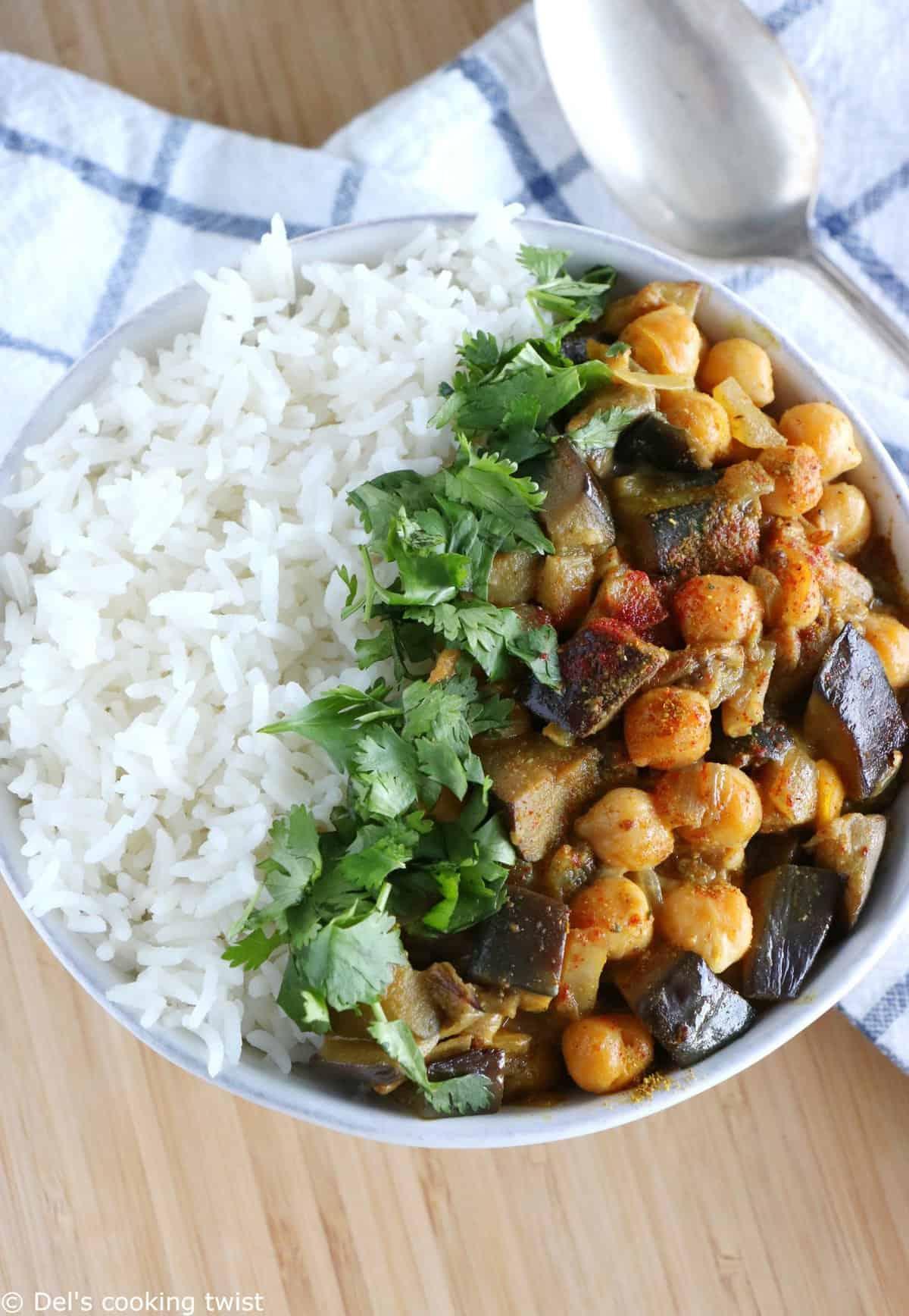 Curry d'aubergine et de pois chiches (Vegan, Sans Gluten)