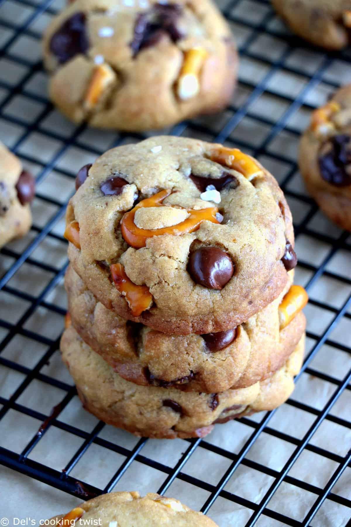 Salted Pretzel Chocolate Chip Cookies