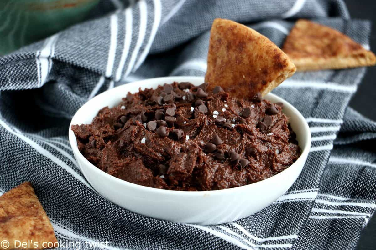 Eggless Brownie Batter Dip with Cinnamon Pita Chips