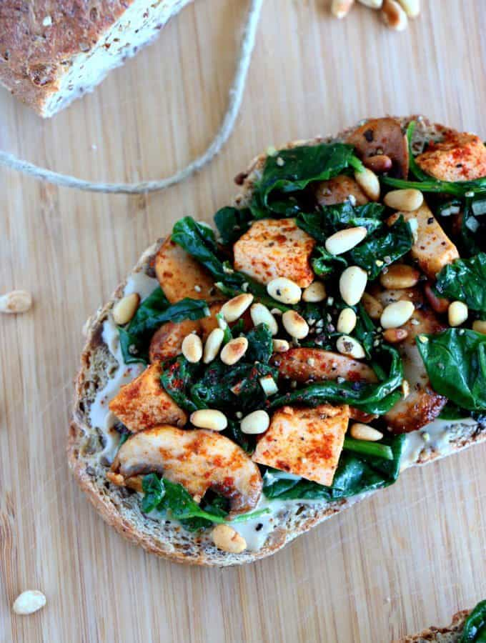 Quick Spinach and Smoked Tofu Tahini Toasts