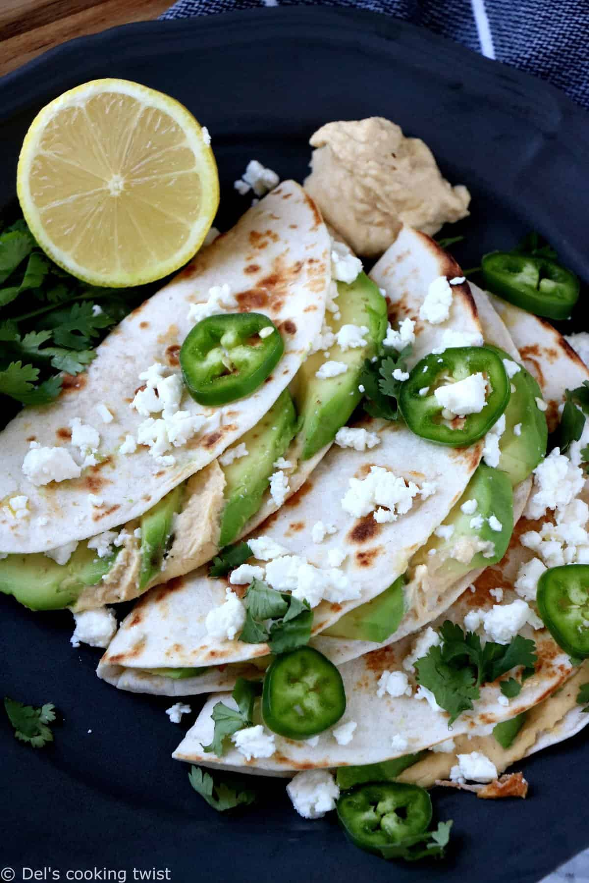 Avocado Hummus Quesadillas