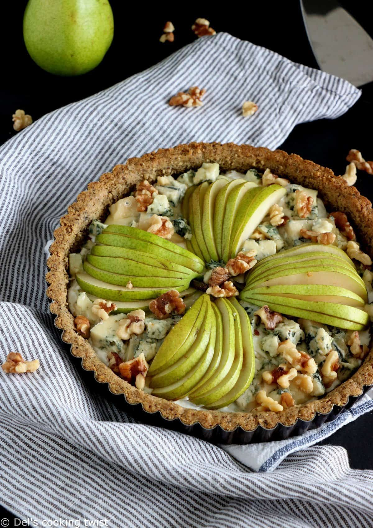 Pear and Blue Cheese Pie with a Walnut Crust
