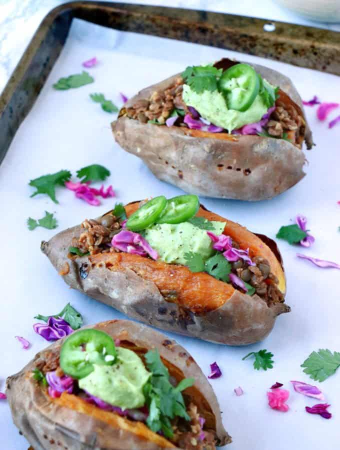 Taco Stuffed Sweet Potatoes (vegan, gluten free)