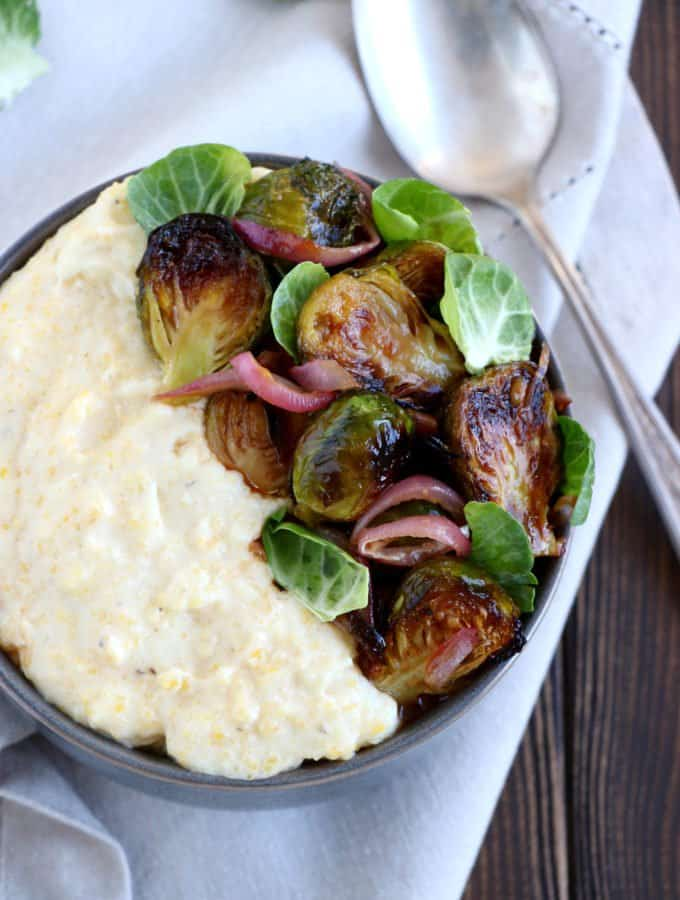 Balsamic Brussels Sprouts with a Creamy Goat Cheese Polenta (Gluten free)
