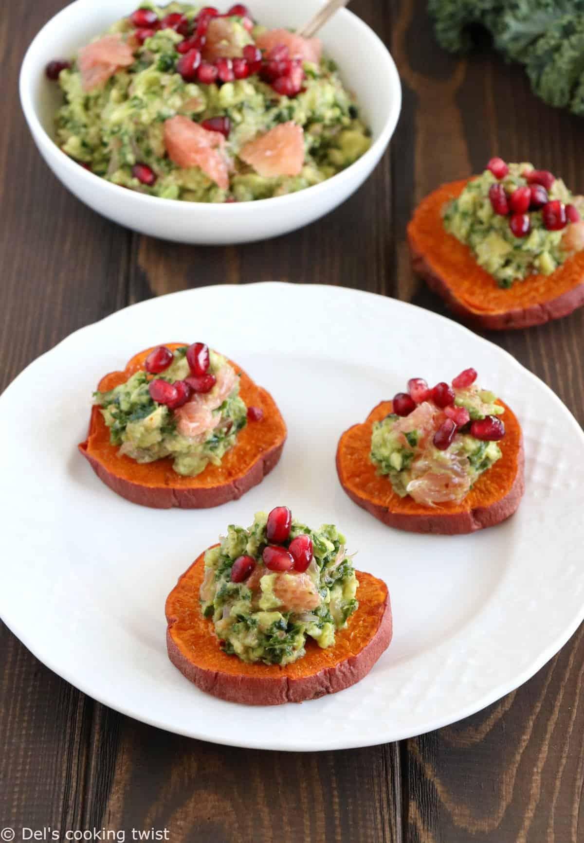 Sweet Potato Toasts with Kale Guacamole