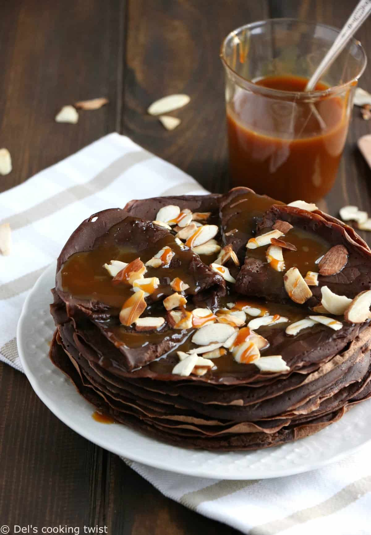 Vegan Chocolate Crepes with Caramel Sauce