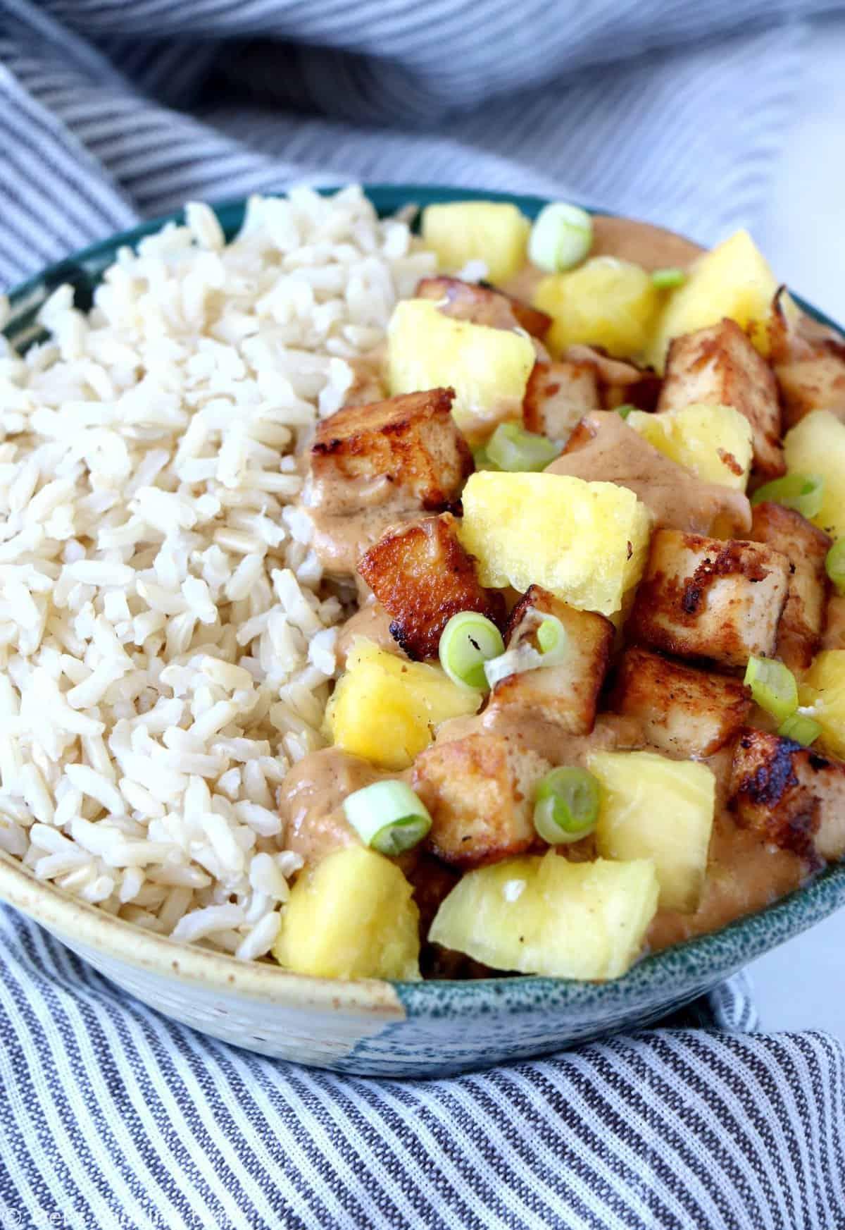 Creamy Peanut Butter Tofu Pineapple Rice