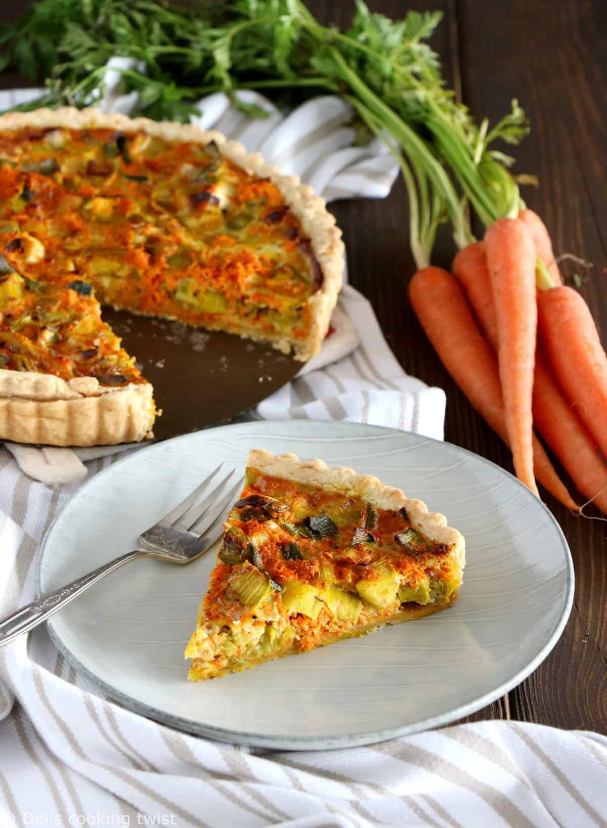 Spicy Curry Leek and Carrot Quiche