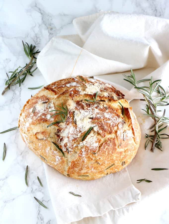 Rosemary & Green Olives No-Knead Bread
