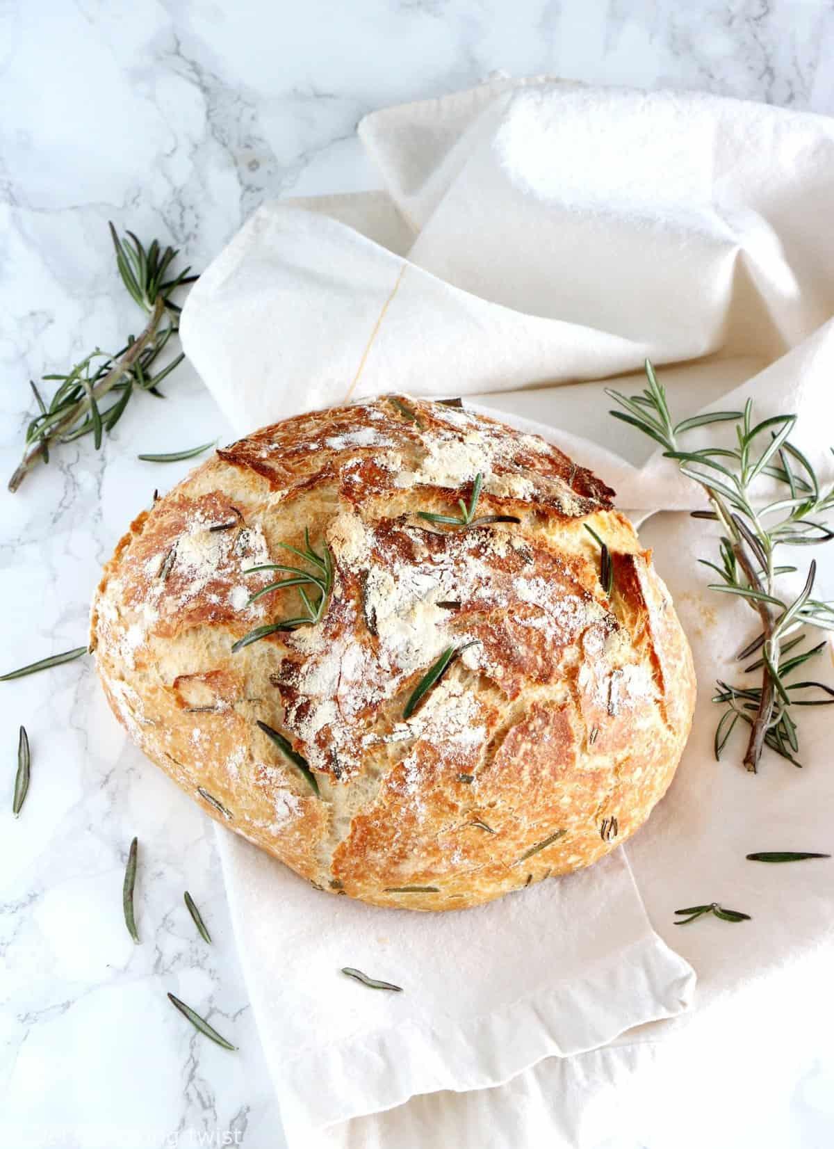 Rosemary Green Olives No Knead Bread