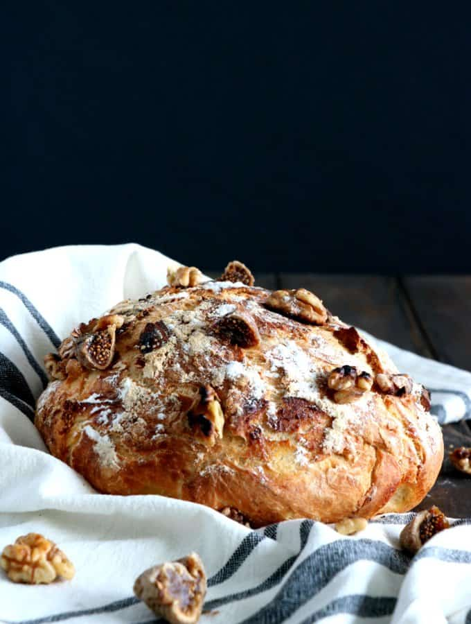 Rustic Fig and Walnut No Knead Bread