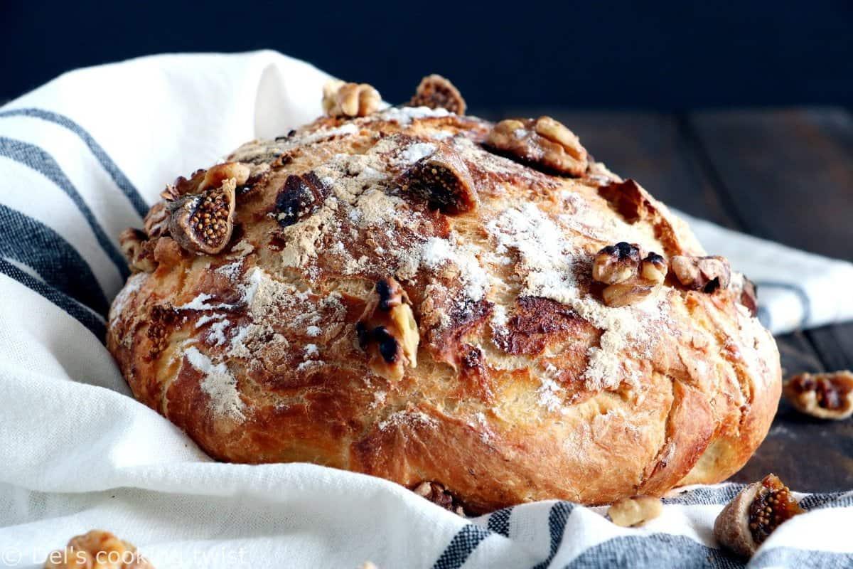 Rustic Fig and Walnut No Knead Bread