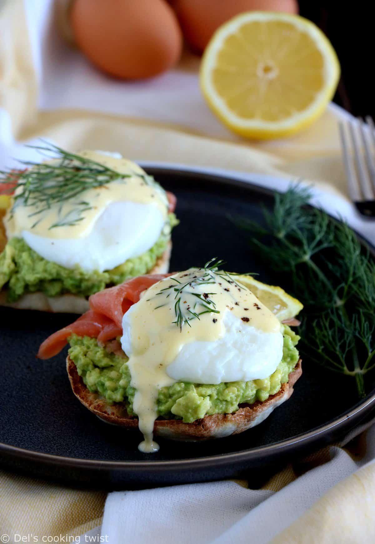 Fancy Salmon Avocado Eggs Benedict