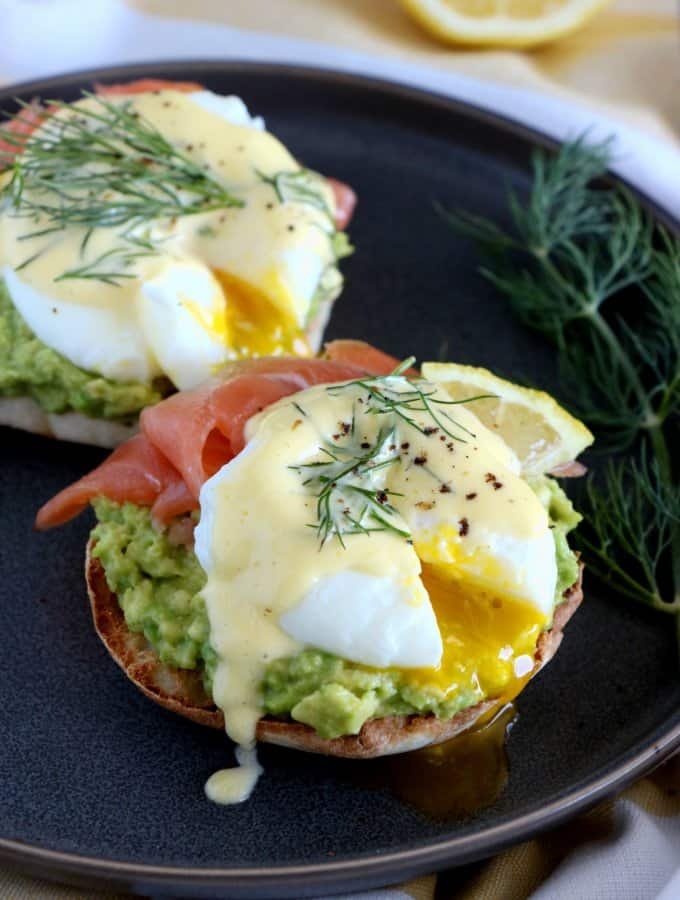 Fancy Salmon-Avocado Eggs Benedict