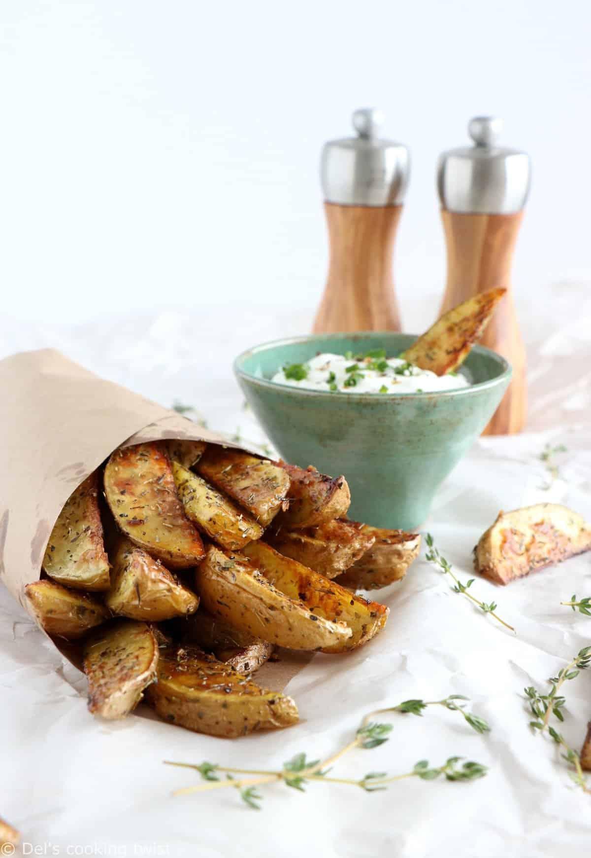 Garlic Herb Potato Wedges