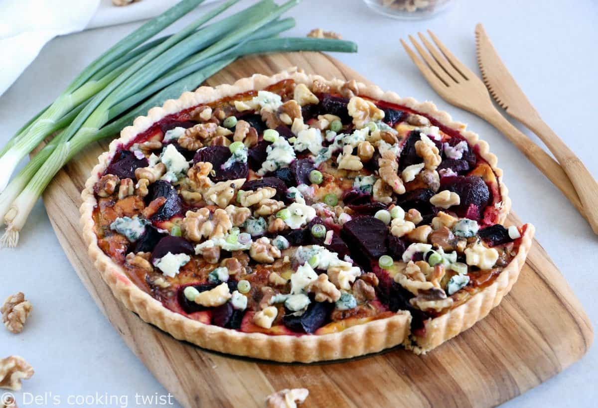 Beetroot Walnut and Blue Cheese Tart