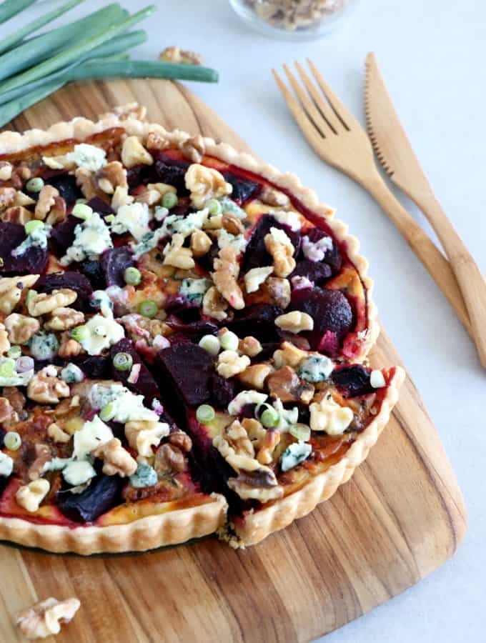 Beetroot, Blue Cheese & Walnut Tart