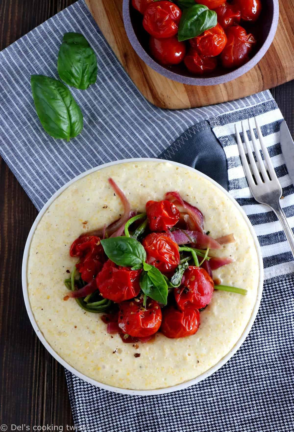 Polenta au chèvre, tomates cerises rôties et épinards (Sans Gluten)