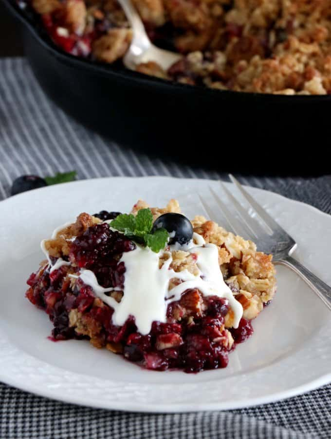 Triple Berry Crisp with White Chocolate Sauce