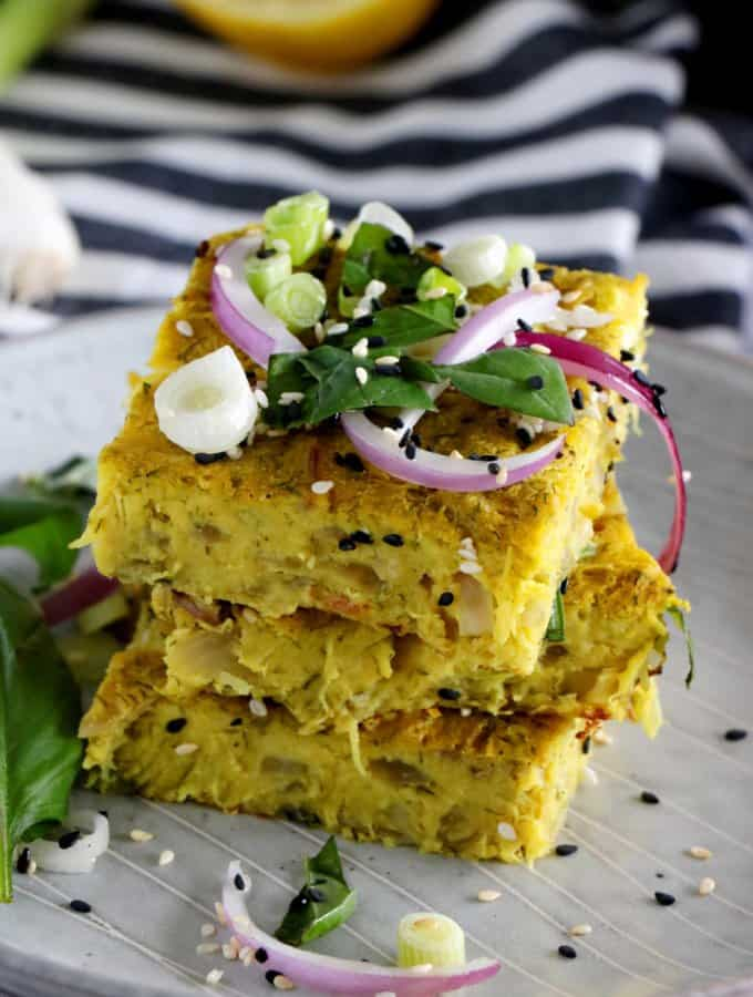 Vegan Red Onion and Zucchini Frittata
