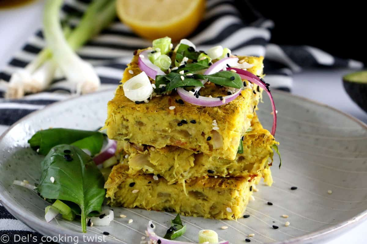 Vegan Zucchini and Red Onion Frittata