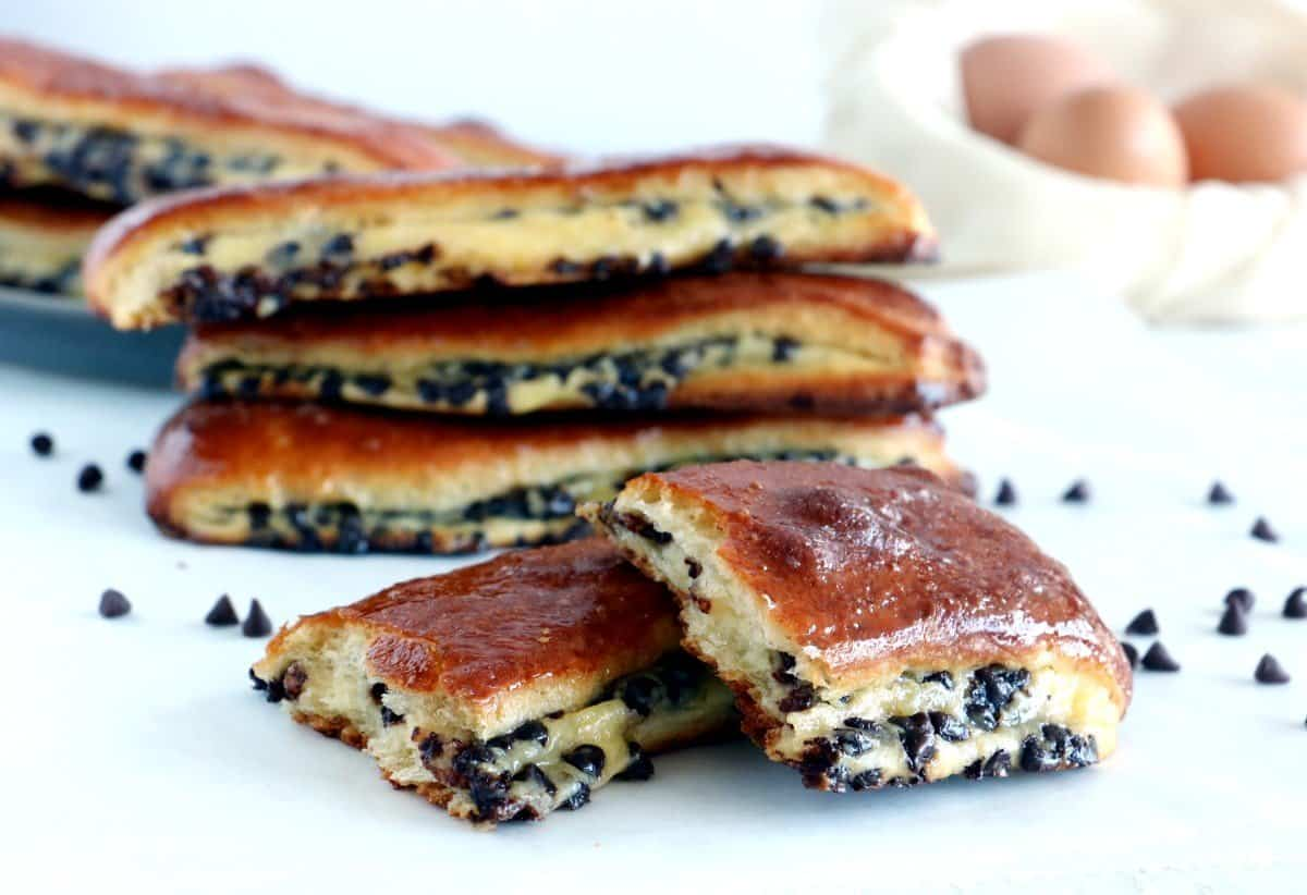 Chocolate Chip Vanilla Custard Brioches (Brioches Suisses)