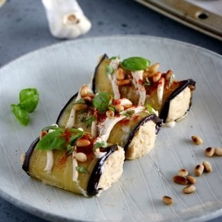 Eggplant Rolls filled with Roasted Garlic Hummus
