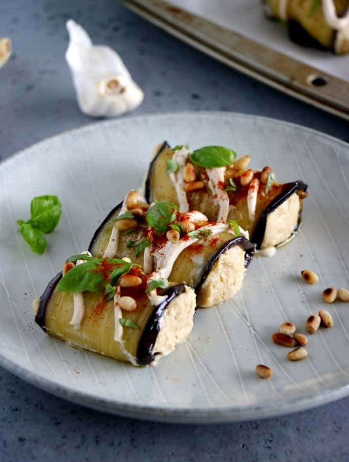 Eggplant Rolls filled with Roasted Garlic Hummus (Vegan, Gluten-Free)