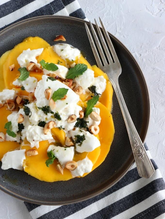 Nutty Mango Burrata Salad with Mint Pesto