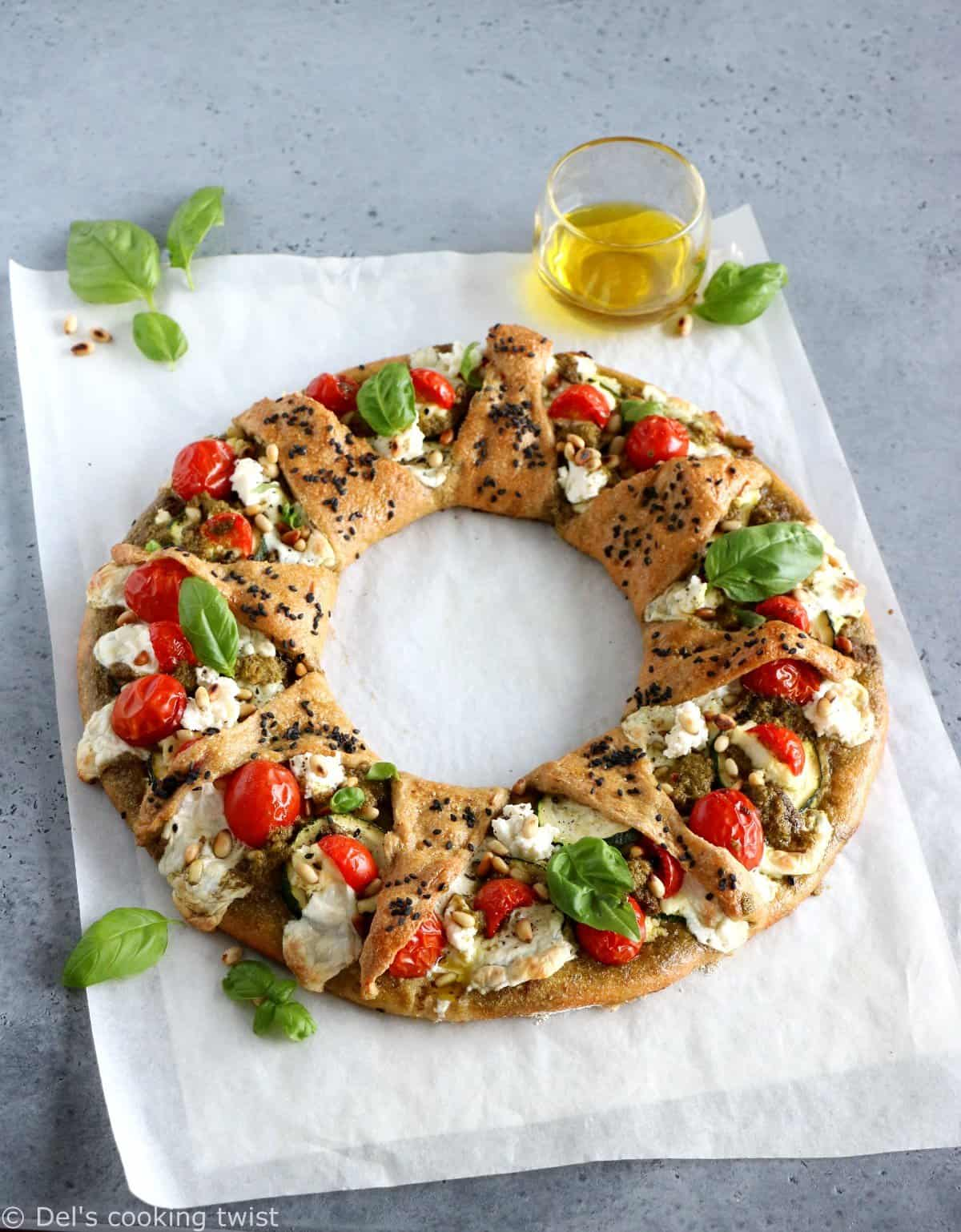 Whole Wheat Mediterranean Pizza Star Ring Dels Cooking Twist