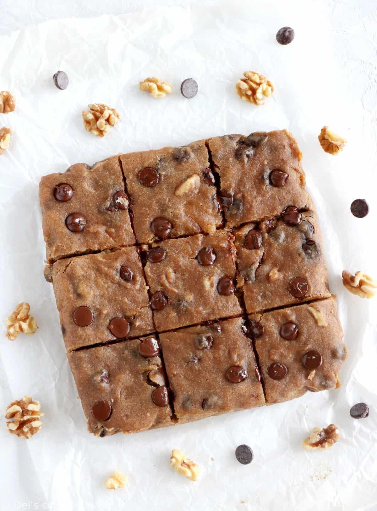 Healthy Vegan Chocolate Chip Blondies