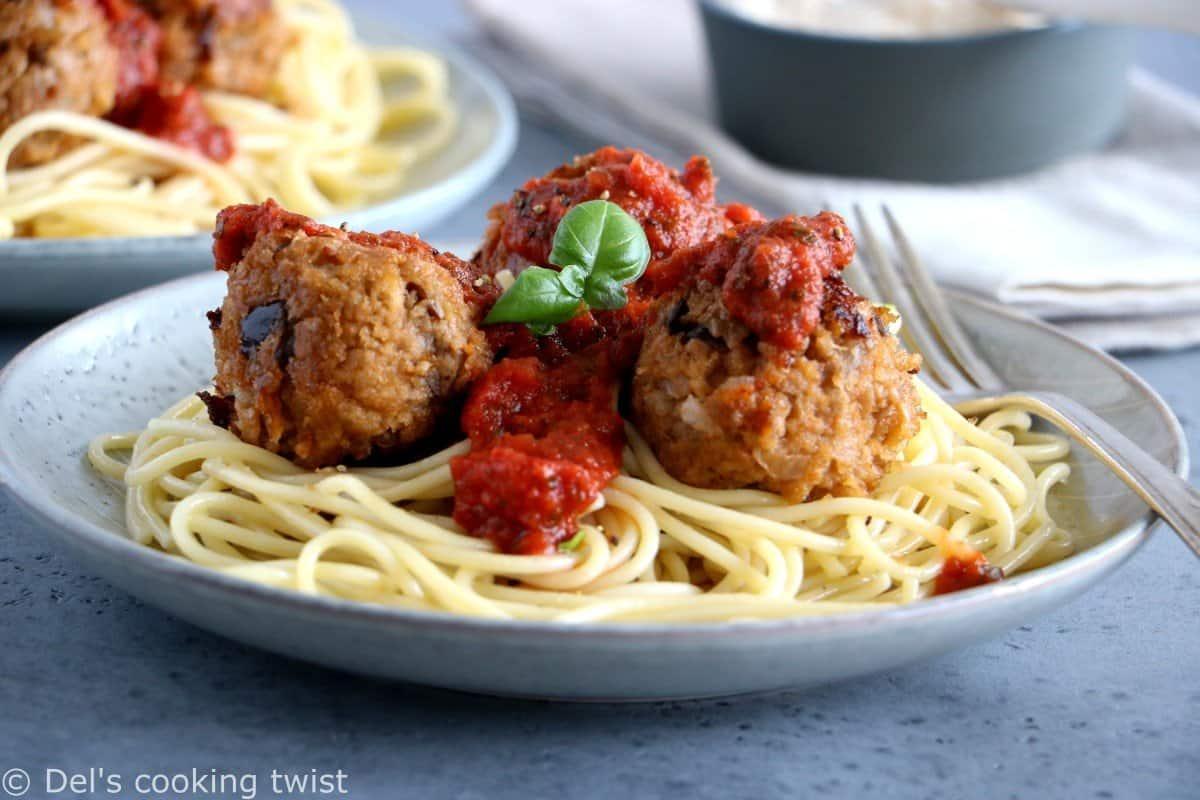 Vegetarian Eggplant Meatballs with Kamut® Spaghetti