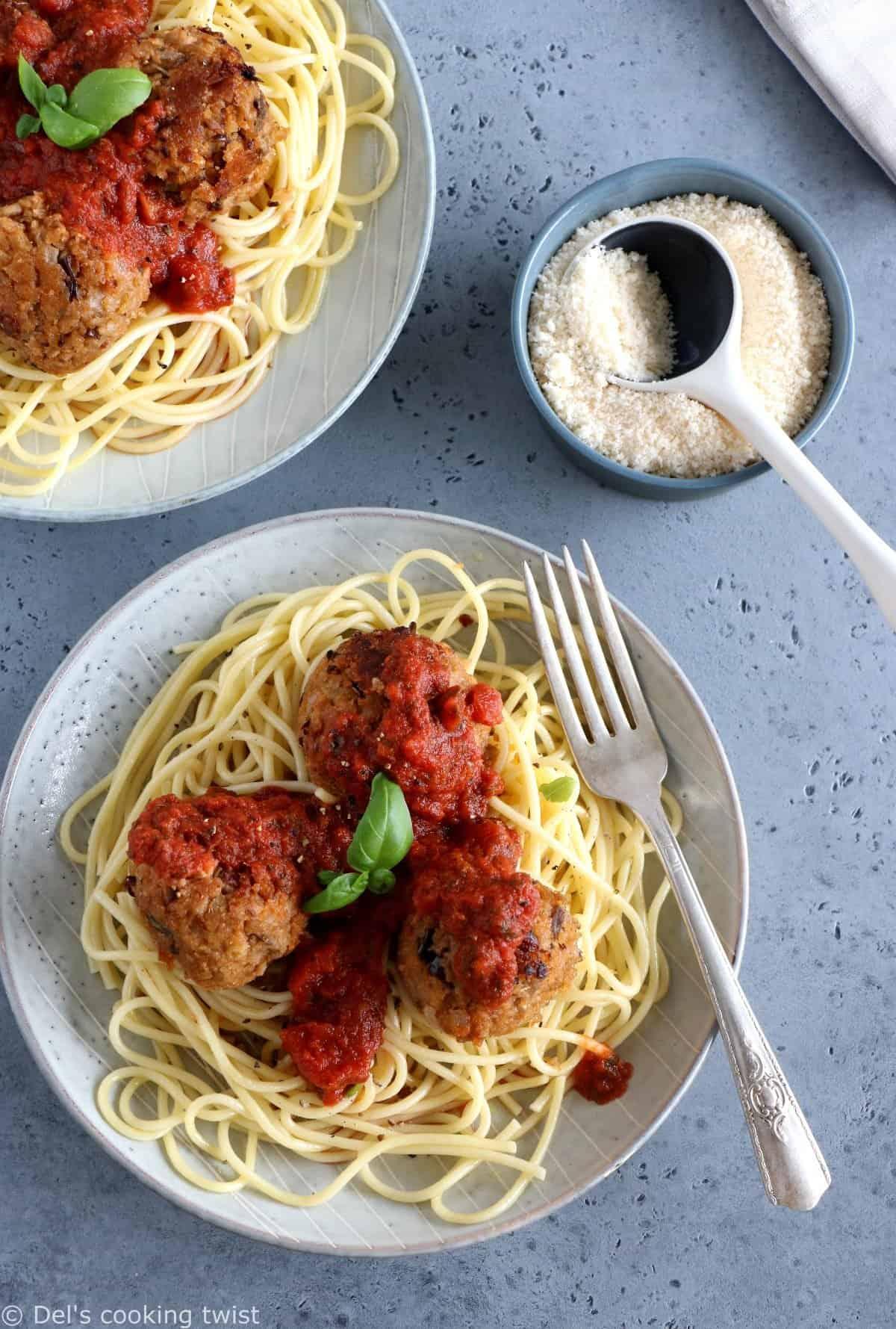 Boulettes d'aubergines végétariennes et spaghettis de kamut®