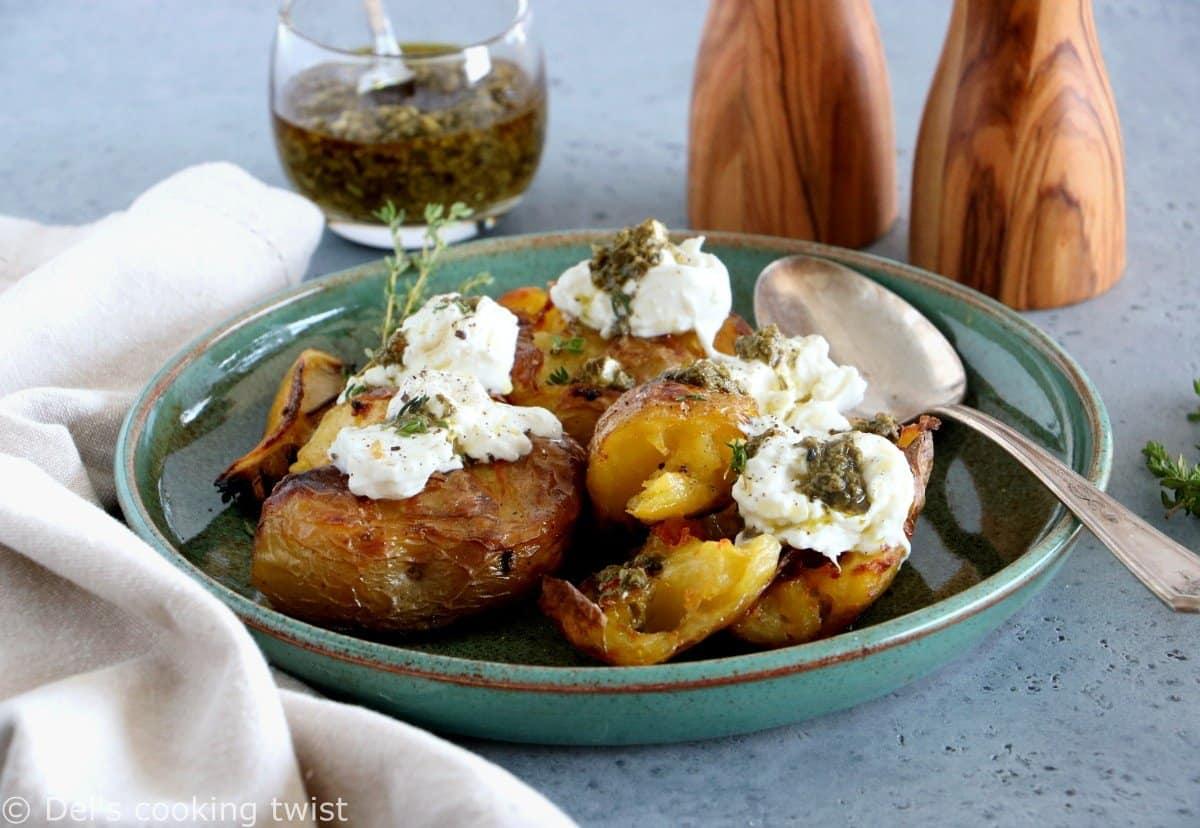 Smashed Lemony Potatoes with Burrata and Pesto