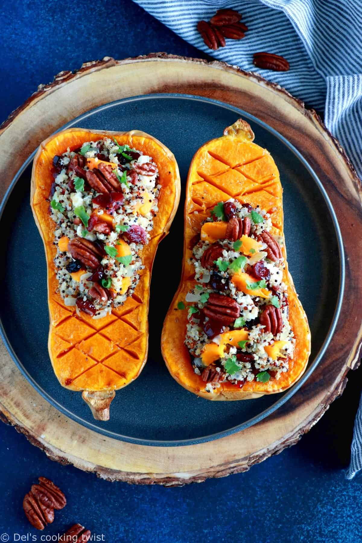 Cranberry Quinoa Stuffed Butternut Squash