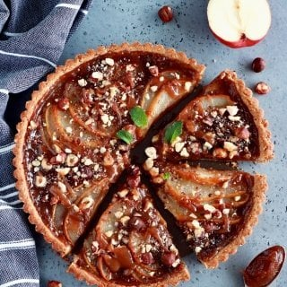 Pear and Chestnut Tart with Hazelnut Crust