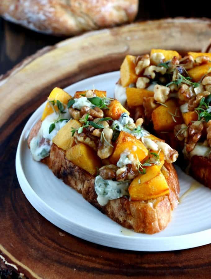 Pumpkin and Walnut Tartines with Blue Cheese